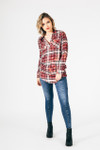 full outfit shows Vintage Plaid Long Sleeve Tunic by VIntage Havana paired with the Farrah Skinnies and black boots