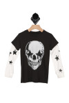 front of tee has black short sleeve shirt with white faux long sleeves. black tee has white skull graphic and white sleeves have black stars down arms.