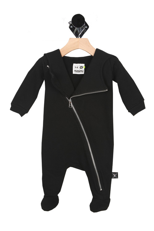 front of onesie is all black with moto-jacket style collar and silver zipper up entire front. Covered footies.