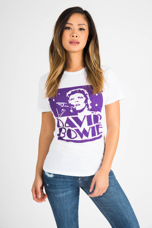 front shows outline purple David Bowie logo on white tee.