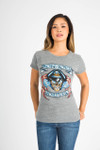 front shows Bon Jovi Foreverwith skully logo at front on heather grey tee.