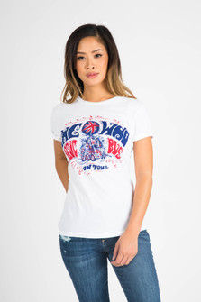 front of tee shows The Who logo in red and blue on plain white shirt.