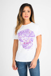 front shows Jefferson Airplane psychedelic logo in purple and hot pink on white tee.