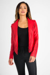 front shows un-zipped red jacket pair with black tank and black jeans.