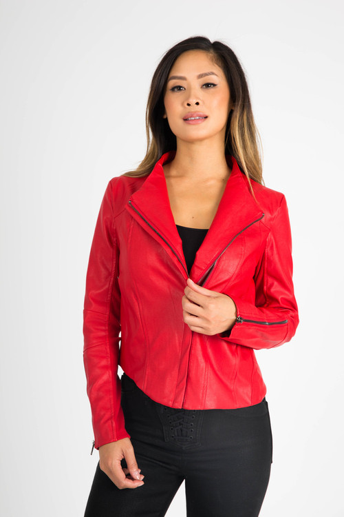 front of red vegan leather jacket shows half zipped up with zipper detailing at arms. moto-style collar
