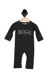 """front of black onesie and it says """"Rule Breaker"""" in white  cursive inside outline of white banner. Long sleeves."""