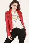 front shows model wearing red leather jacket worn over Van Halen tee