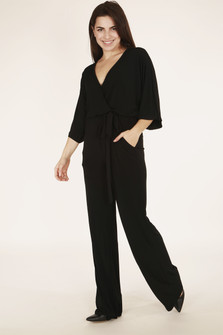 full front of pantsuit shows kimono-style arms with v-neckline and long wide leg pants in black