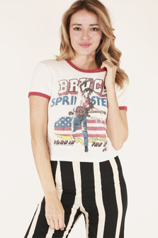 front close view shows ringer-style tee with washed-red hemlines and large Bruce Springsteen logo in red white & blue at front