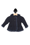 front shows navy thick knit material with 4 button closure at top and navy fur lining