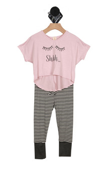 "front shows pink top with ""shhh..."" written in grey letters with closed eyes at front. leggings show grey and white striped pattern with cuffed grey ankles."