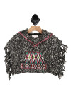 Fringed, colorful, tribal, poncho, hood, soft and warm.