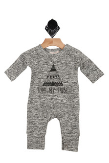 "Charcoal, tee pee, ""I love my tribe"", romper, infant"