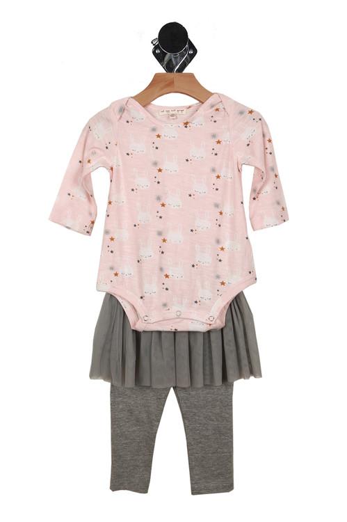 Romper, 2 piece, tutu, pink, grey, bunnies