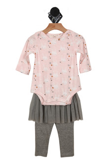 Front shows two piece romper set with long sleeved pink bunny patterned leotard, grey tutu and grey pants.