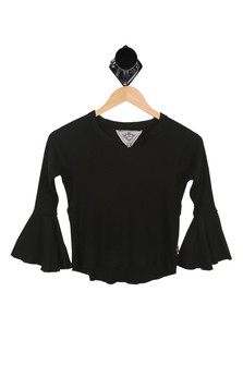 Front shows black long sleeve belled top.