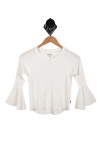 Front shows white long sleeve belled top.