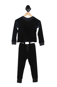 Navy blue, velour, jumpsuit, two piece, lace