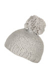 Knitted hat with fluff ball on top like a pom pom with pearl knitting and soft fabric Grey/Silver.