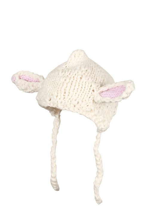 Knitted Soft Ivory beanie with lamb ears on top.