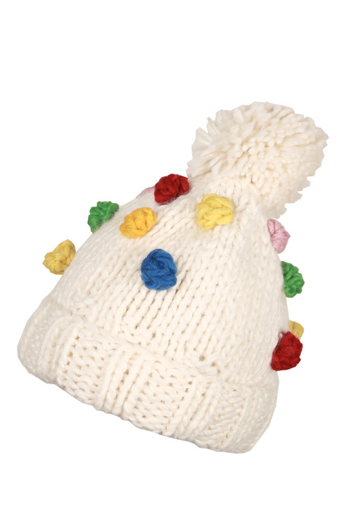 Colorful  soft texture knitted balls all over with pom pom and warm.