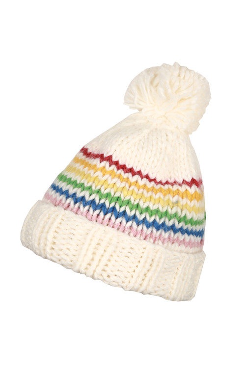 Regan Hat . Cream color with rainbow stripes, knitted and a fluff ball on top.