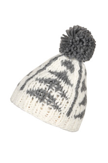 Soft material with pom pom on top. With horizontal triangles pattern. Grey and white.
