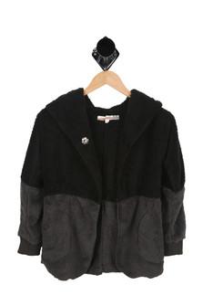 Soft, Black, Grey, Hood, Single Button