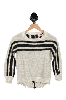Front, Sweater, Stripped, Heather Oatmeal Color