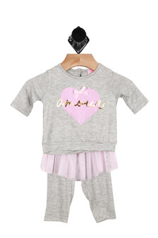 Tutu amour, bow, grey, pink, leggins