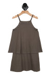 Charcoal dress, strapes,