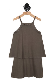 Charcoal dress, strapes,