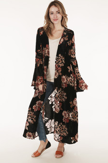 front shows duster in black background with red and cream flowers all over  & length down to models ankles