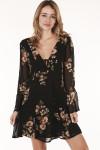 front of dress shows deep v neckline