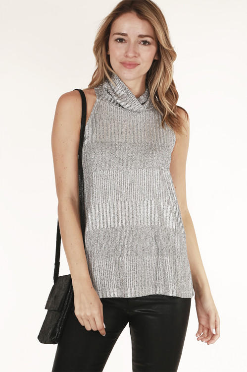 front shows top in shimmery silver with turtleneck and tank sleeves