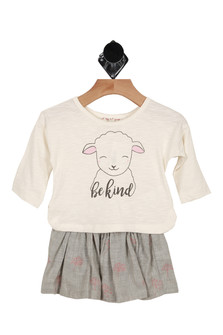 2 piece, sheep, skirt, shirt