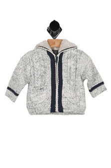 Pullover, blue and cream, hooded
