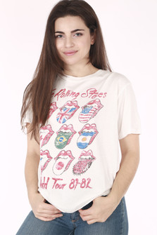 front shows Rolling Stones written in red cursive with mouth & tongue logo with different country flags as tongue detail per mouth.