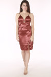 full image shows entire dress in rust satin material