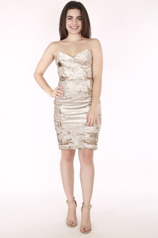 full body image shows dress with gold sequins, very slim straps and fitted body. Hits model above knee