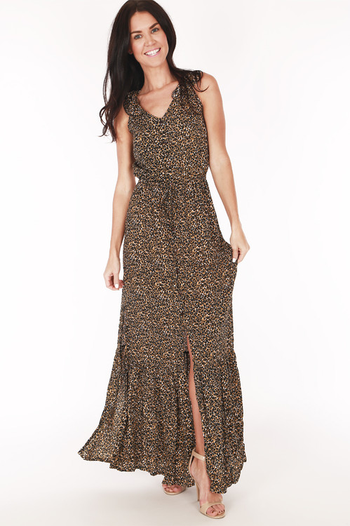 full image shows tank dress in cheetah print with front slit