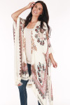 front image shows tan kimono with red and black flowers all over paired with blue skinny jeans and cream tank