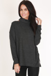 front shows long sleeves with longer hemline and soft dark grey material