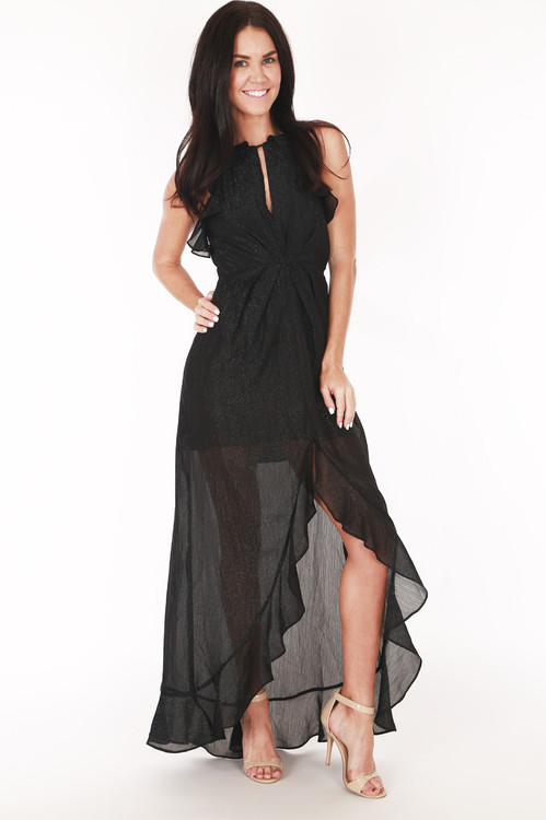 full front shows keyhole cut out with higher neck ruffled spaghetti straps sleeves and hi-lo fron hemline with ruffle hemline detailing