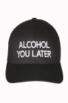 Hat, Black embroidered, alcohol you later