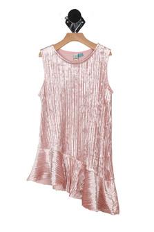 Velvet pink, tank top, diagonal cut bottom, long enough to be a dress or a top