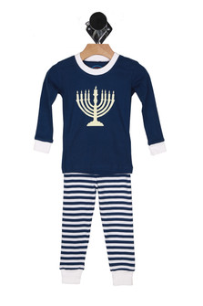 Blue, white, striped pants, menorah , pajamas