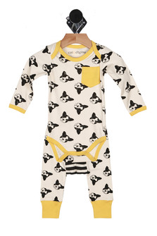 3 piece set, onsie, pants, puppies, boston terriors, strips black and white, black white and yellow, cuffed pants