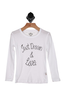"Long sleeve white crew, ""black Just dream and love"", single star, thumb holes"