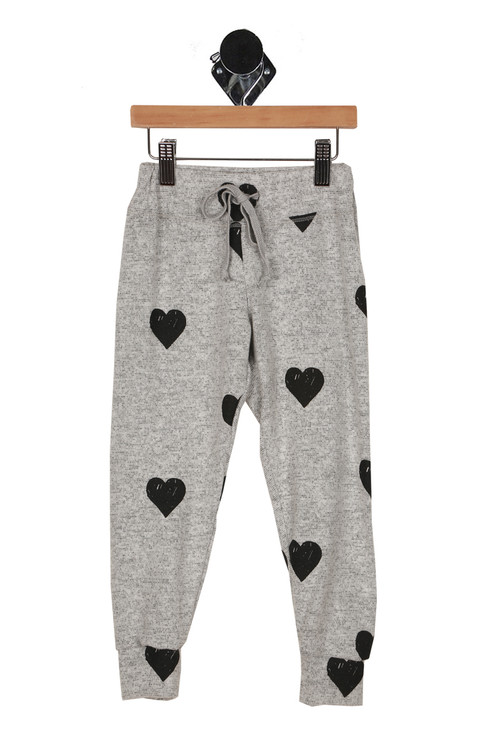 pants,soft, hearts, draw string, stretchy waste, cuffed bottoms